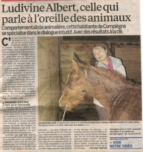 Article - le Parisien Oise - 19 octobre 2013 - Communication animale